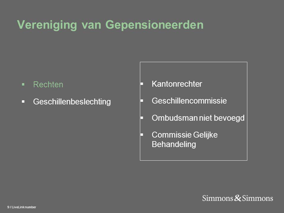 9 / LiveLink number Vereniging van Gepensioneerden  Kantonrechter  Geschillencommissie  Ombudsman niet bevoegd  Commissie Gelijke Behandeling  Re