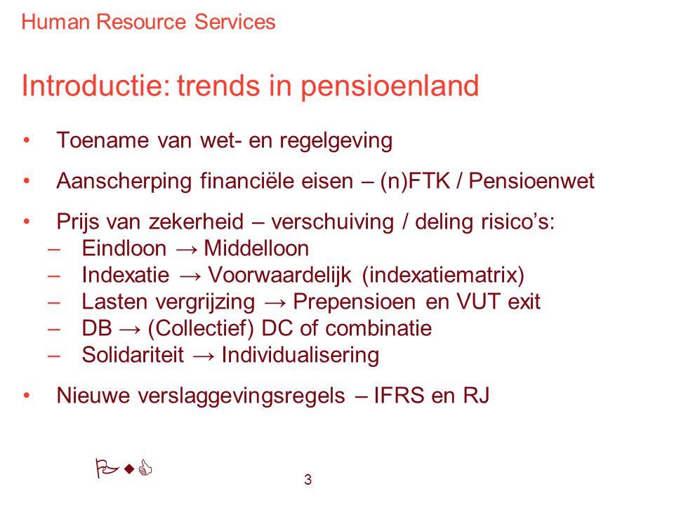 Human Resource Services PwC Introductie: trends in pensioenland Toename van wet- en regelgeving Aanscherping financiële eisen – (n)FTK / Pensioenwet P