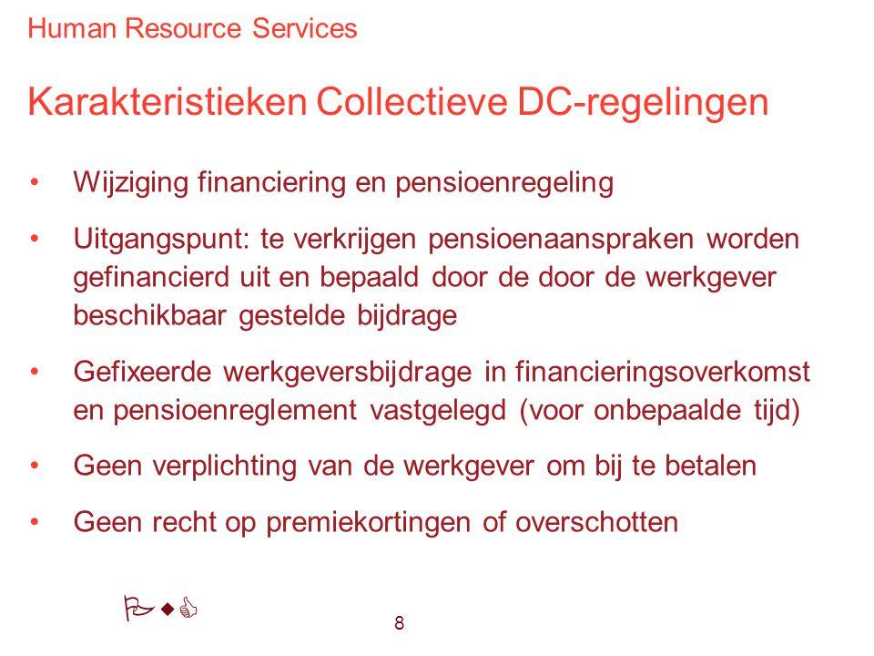Human Resource Services PwC Karakteristieken Collectieve DC-regelingen Wijziging financiering en pensioenregeling Uitgangspunt: te verkrijgen pensioen