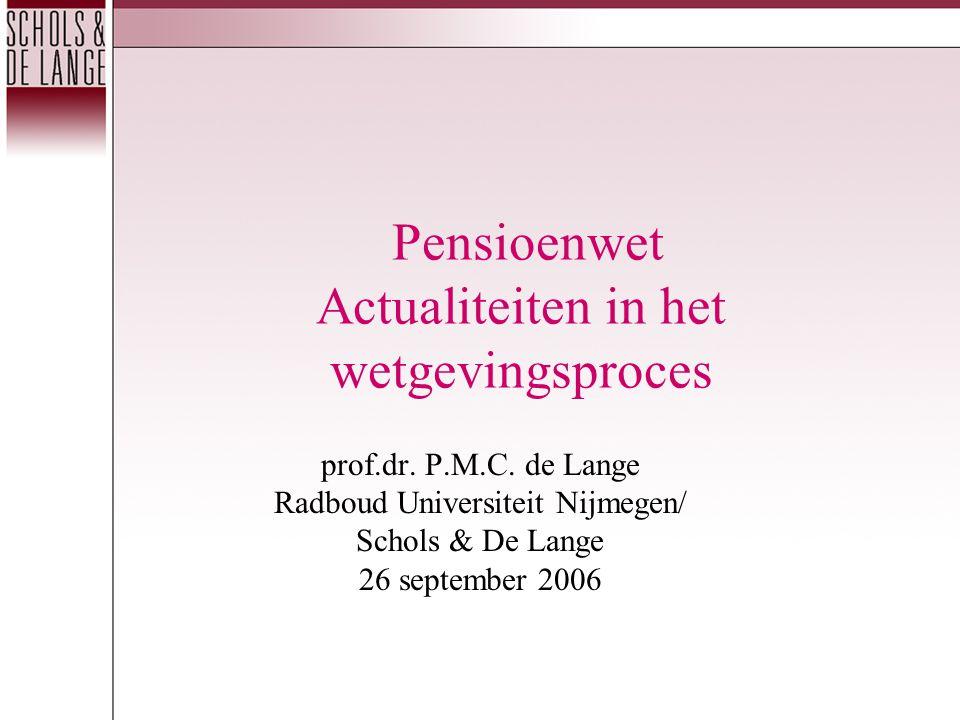 Pensioenwet Actualiteiten in het wetgevingsproces prof.dr.