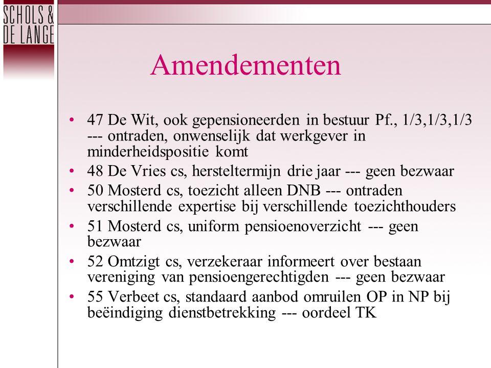 Amendementen 47 De Wit, ook gepensioneerden in bestuur Pf., 1/3,1/3,1/3 --- ontraden, onwenselijk dat werkgever in minderheidspositie komt 48 De Vries cs, hersteltermijn drie jaar --- geen bezwaar 50 Mosterd cs, toezicht alleen DNB --- ontraden verschillende expertise bij verschillende toezichthouders 51 Mosterd cs, uniform pensioenoverzicht --- geen bezwaar 52 Omtzigt cs, verzekeraar informeert over bestaan vereniging van pensioengerechtigden --- geen bezwaar 55 Verbeet cs, standaard aanbod omruilen OP in NP bij beëindiging dienstbetrekking --- oordeel TK