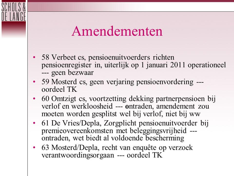 Amendementen 58 Verbeet cs, pensioenuitvoerders richten pensioenregister in, uiterlijk op 1 januari 2011 operationeel --- geen bezwaar 59 Mosterd cs, geen verjaring pensioenvordering --- oordeel TK 60 Omtzigt cs, voortzetting dekking partnerpensioen bij verlof en werkloosheid --- ontraden, amendement zou moeten worden gesplitst wel bij verlof, niet bij ww 61 De Vries/Depla, Zorgplicht pensioenuitvoerder bij premieovereenkomsten met beleggingsvrijheid --- ontraden, wet biedt al voldoende bescherming 63 Mosterd/Depla, recht van enquête op verzoek verantwoordingsorgaan --- oordeel TK