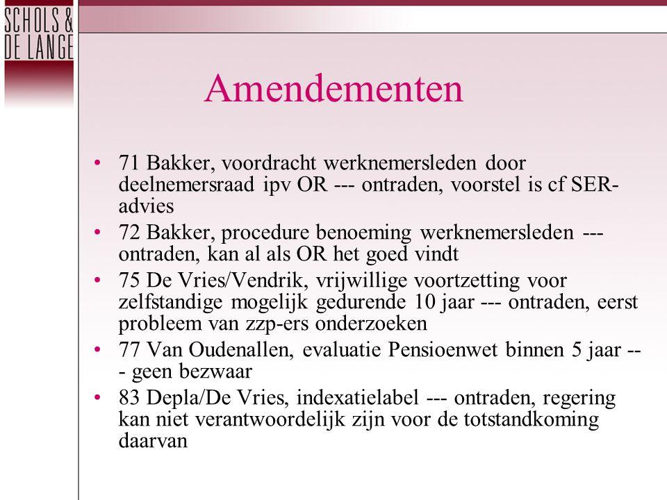 Amendementen 71 Bakker, voordracht werknemersleden door deelnemersraad ipv OR --- ontraden, voorstel is cf SER- advies 72 Bakker, procedure benoeming werknemersleden --- ontraden, kan al als OR het goed vindt 75 De Vries/Vendrik, vrijwillige voortzetting voor zelfstandige mogelijk gedurende 10 jaar --- ontraden, eerst probleem van zzp-ers onderzoeken 77 Van Oudenallen, evaluatie Pensioenwet binnen 5 jaar -- - geen bezwaar 83 Depla/De Vries, indexatielabel --- ontraden, regering kan niet verantwoordelijk zijn voor de totstandkoming daarvan