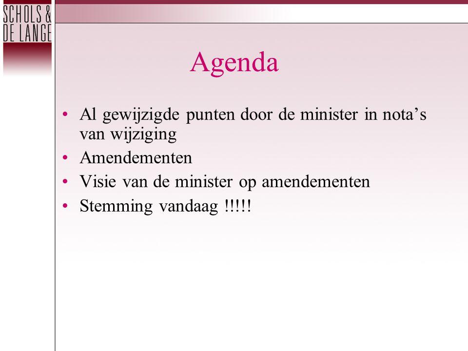 Agenda Al gewijzigde punten door de minister in nota's van wijziging Amendementen Visie van de minister op amendementen Stemming vandaag !!!!!