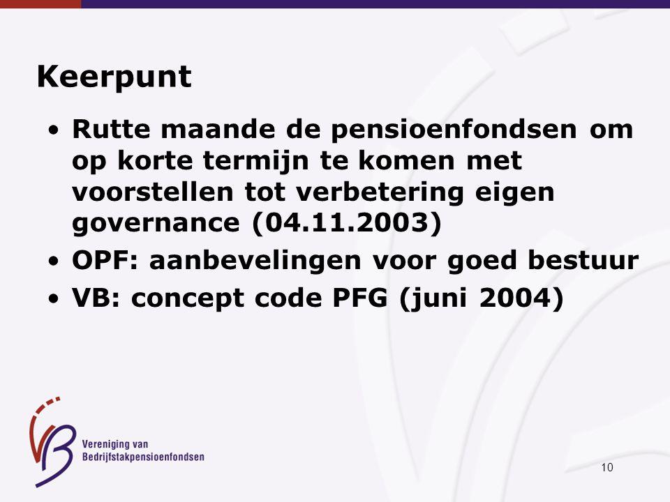 10 Keerpunt Rutte maande de pensioenfondsen om op korte termijn te komen met voorstellen tot verbetering eigen governance (04.11.2003) OPF: aanbevelingen voor goed bestuur VB: concept code PFG (juni 2004)