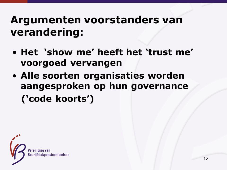 15 Argumenten voorstanders van verandering: Het 'show me' heeft het 'trust me' voorgoed vervangen Alle soorten organisaties worden aangesproken op hun governance ('code koorts')