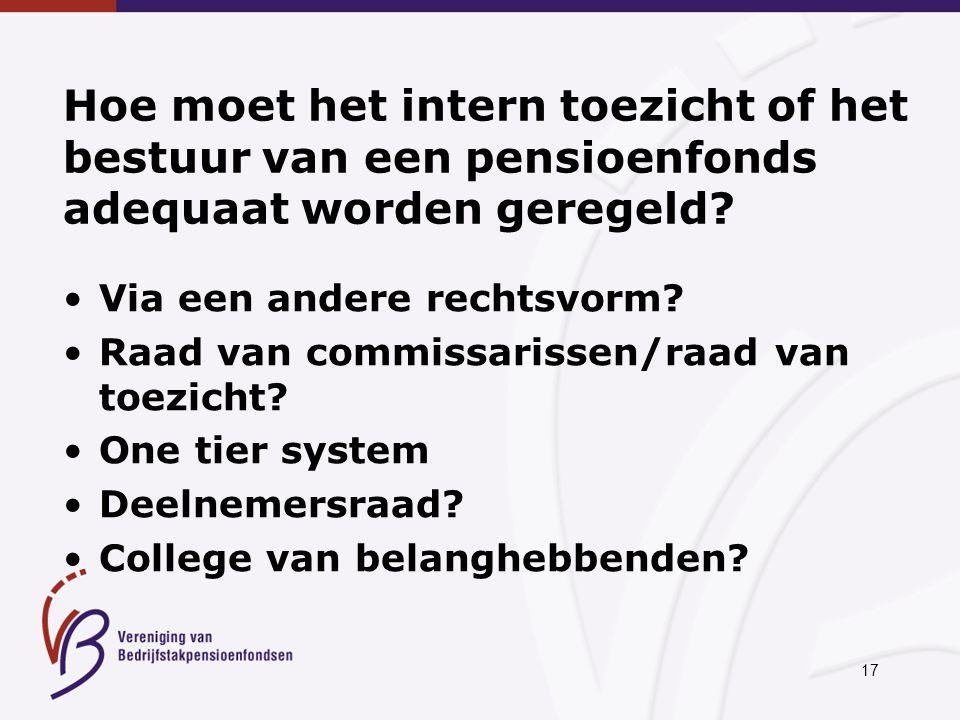17 Hoe moet het intern toezicht of het bestuur van een pensioenfonds adequaat worden geregeld.