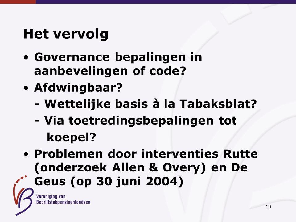 19 Het vervolg Governance bepalingen in aanbevelingen of code.