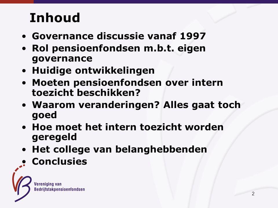2 Inhoud Governance discussie vanaf 1997 Rol pensioenfondsen m.b.t.