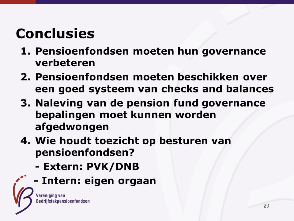 20 Conclusies 1.Pensioenfondsen moeten hun governance verbeteren 2.Pensioenfondsen moeten beschikken over een goed systeem van checks and balances 3.Naleving van de pension fund governance bepalingen moet kunnen worden afgedwongen 4.Wie houdt toezicht op besturen van pensioenfondsen.