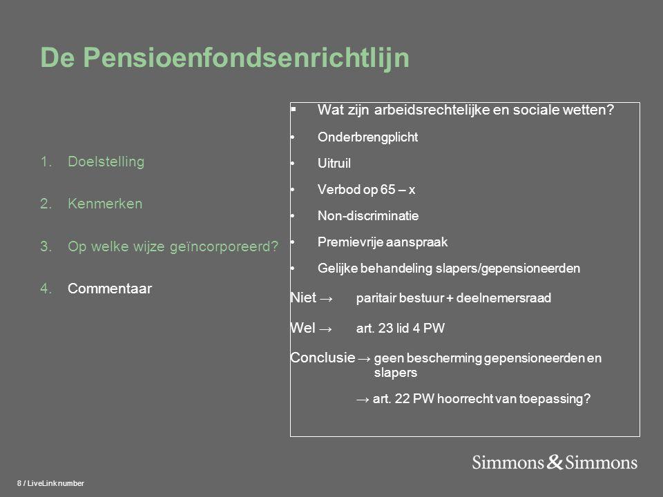 9 / LiveLink number De Pensioenfondsenrichtlijn 1.Doelstelling 2.Kenmerken 3.Op welke wijze geïncorporeerd.