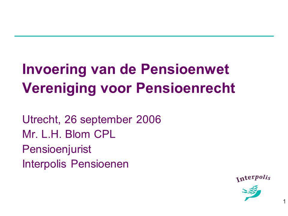 1 Invoering van de Pensioenwet Vereniging voor Pensioenrecht Utrecht, 26 september 2006 Mr.