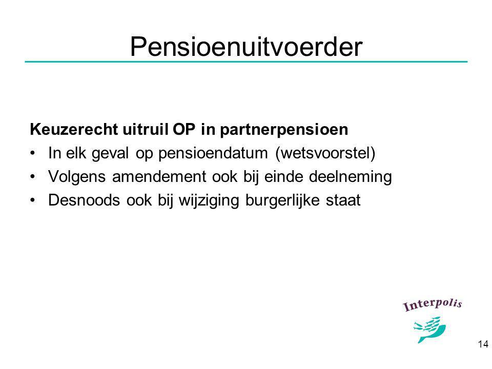 14 Pensioenuitvoerder Keuzerecht uitruil OP in partnerpensioen In elk geval op pensioendatum (wetsvoorstel) Volgens amendement ook bij einde deelneming Desnoods ook bij wijziging burgerlijke staat