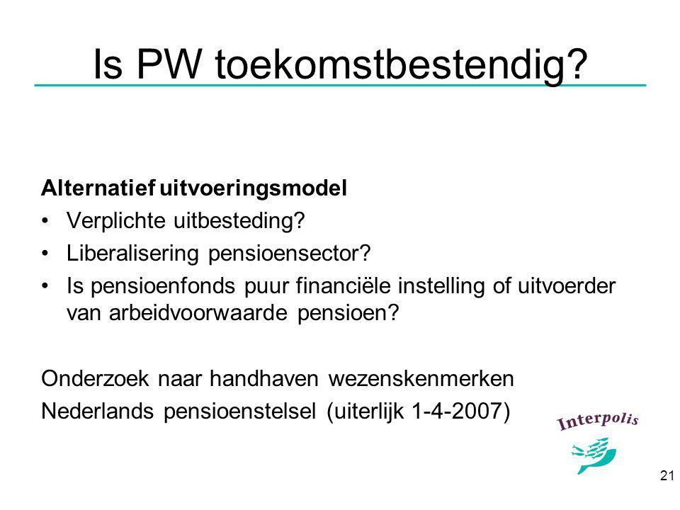 21 Is PW toekomstbestendig. Alternatief uitvoeringsmodel Verplichte uitbesteding.