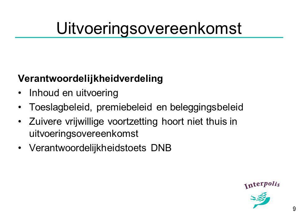 9 Uitvoeringsovereenkomst Verantwoordelijkheidverdeling Inhoud en uitvoering Toeslagbeleid, premiebeleid en beleggingsbeleid Zuivere vrijwillige voortzetting hoort niet thuis in uitvoeringsovereenkomst Verantwoordelijkheidstoets DNB