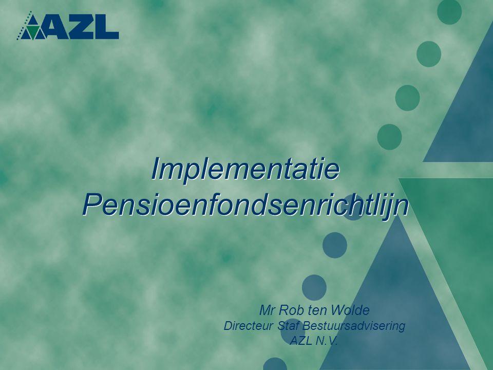 Implementatie Pensioenfondsenrichtlijn Mr Rob ten Wolde Directeur Staf Bestuursadvisering AZL N.V.