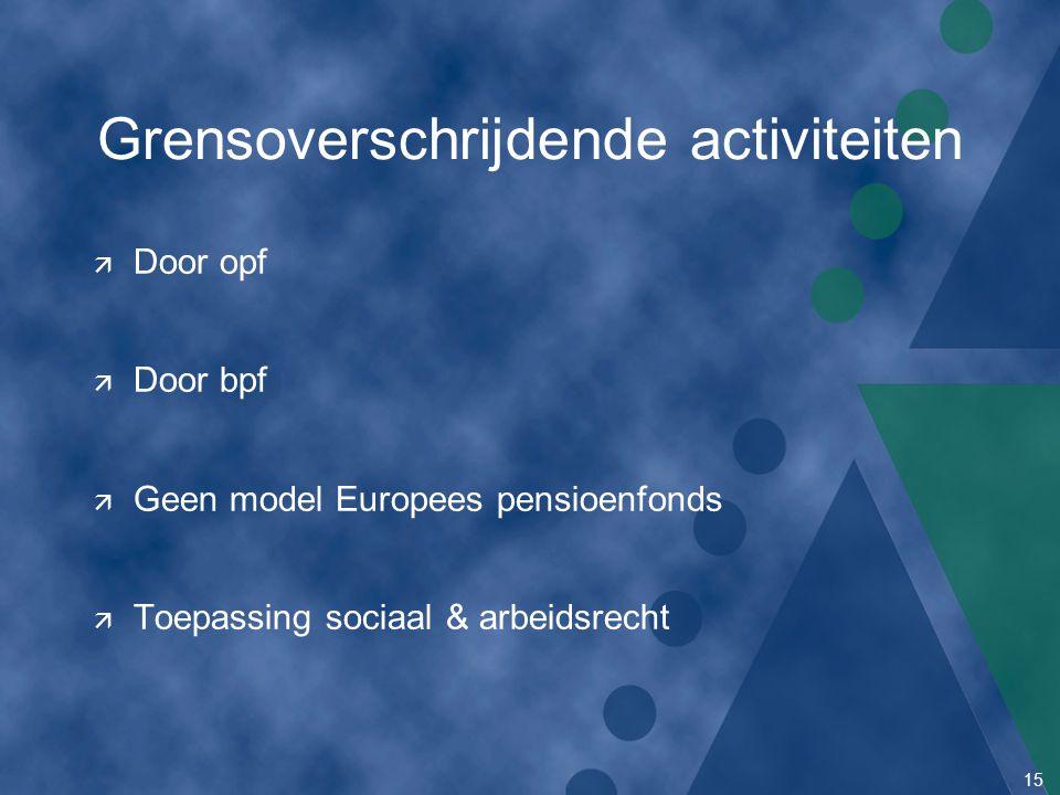 15 Grensoverschrijdende activiteiten ä Door opf ä Door bpf ä Geen model Europees pensioenfonds ä Toepassing sociaal & arbeidsrecht