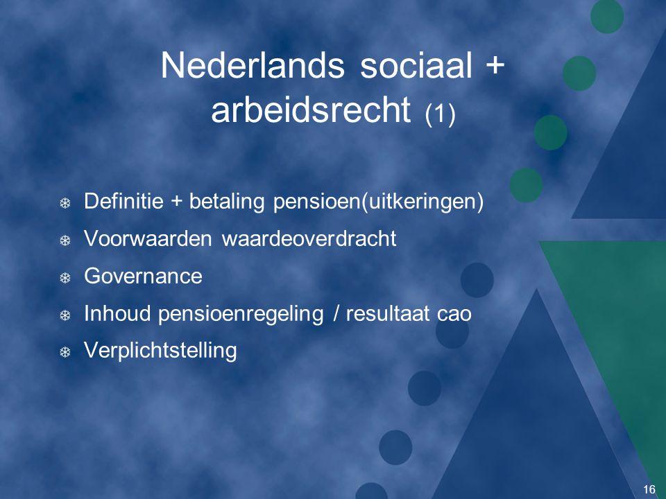 16 Nederlands sociaal + arbeidsrecht (1) T Definitie + betaling pensioen(uitkeringen) T Voorwaarden waardeoverdracht T Governance T Inhoud pensioenreg