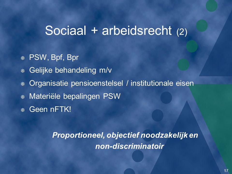 17 Sociaal + arbeidsrecht (2) T PSW, Bpf, Bpr T Gelijke behandeling m/v T Organisatie pensioenstelsel / institutionale eisen T Materiële bepalingen PS