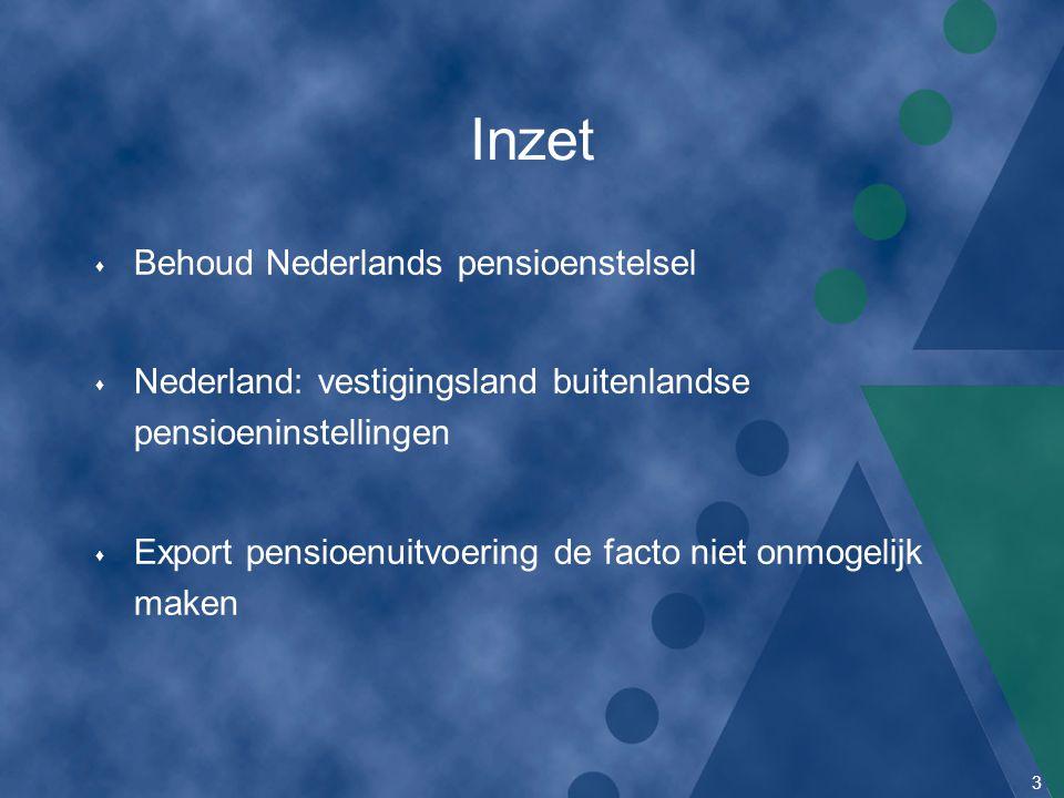 3 Inzet s Behoud Nederlands pensioenstelsel s Nederland: vestigingsland buitenlandse pensioeninstellingen s Export pensioenuitvoering de facto niet on