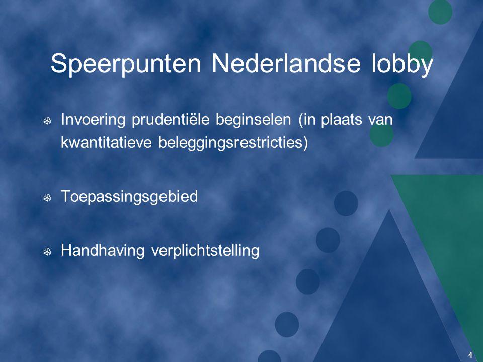 4 Speerpunten Nederlandse lobby T Invoering prudentiële beginselen (in plaats van kwantitatieve beleggingsrestricties) T Toepassingsgebied T Handhavin