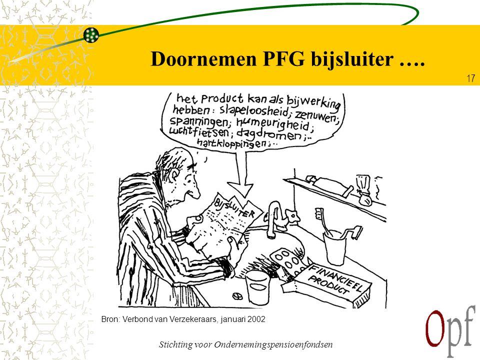Stichting voor Ondernemingspensioenfondsen 17 Doornemen PFG bijsluiter …. Bron: Verbond van Verzekeraars, januari 2002