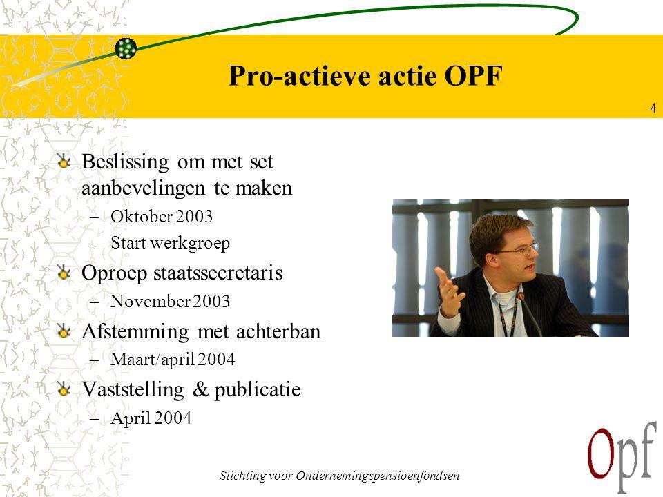 Stichting voor Ondernemingspensioenfondsen 4 Pro-actieve actie OPF Beslissing om met set aanbevelingen te maken –Oktober 2003 –Start werkgroep Oproep
