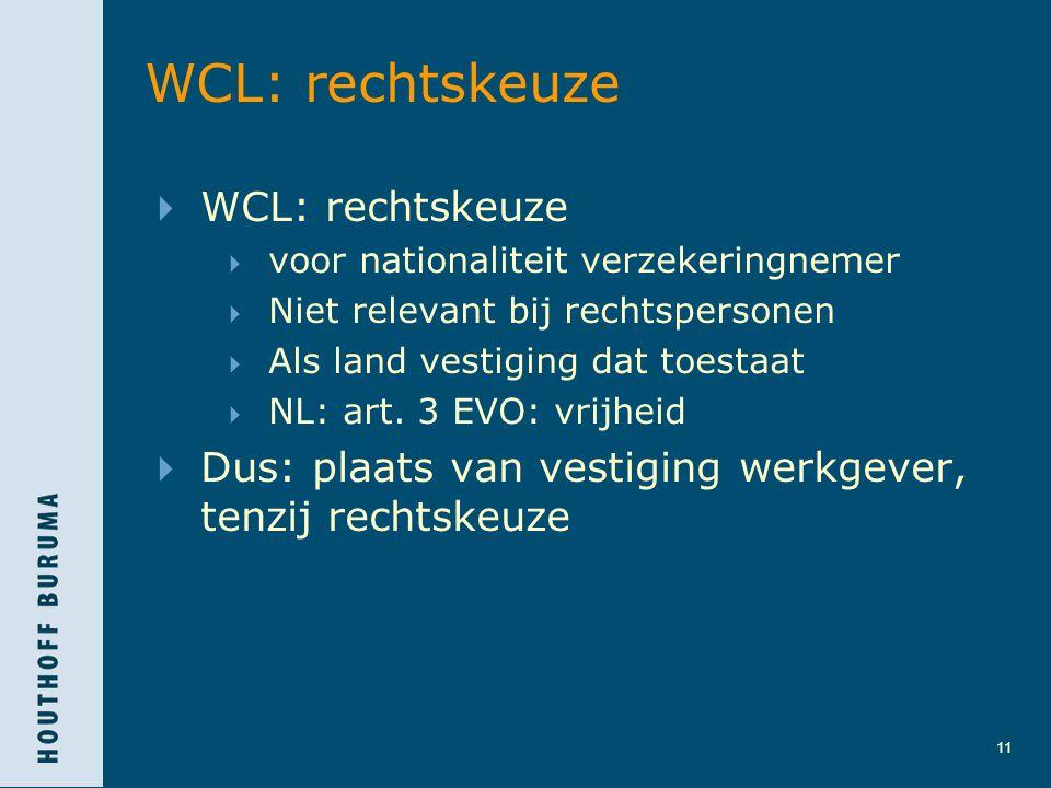 11 WCL: rechtskeuze  WCL: rechtskeuze  voor nationaliteit verzekeringnemer  Niet relevant bij rechtspersonen  Als land vestiging dat toestaat  NL