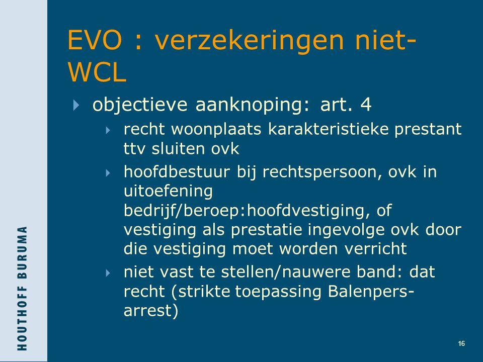 16 EVO : verzekeringen niet- WCL  objectieve aanknoping: art. 4  recht woonplaats karakteristieke prestant ttv sluiten ovk  hoofdbestuur bij rechts