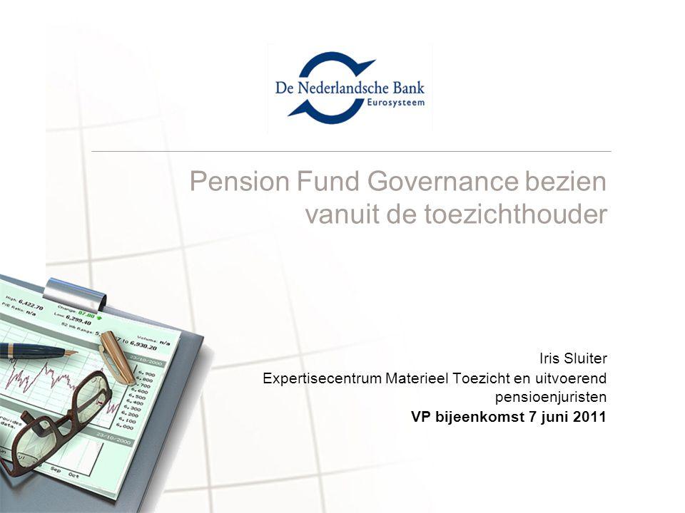 Pension Fund Governance bezien vanuit de toezichthouder Iris Sluiter Expertisecentrum Materieel Toezicht en uitvoerend pensioenjuristen VP bijeenkomst