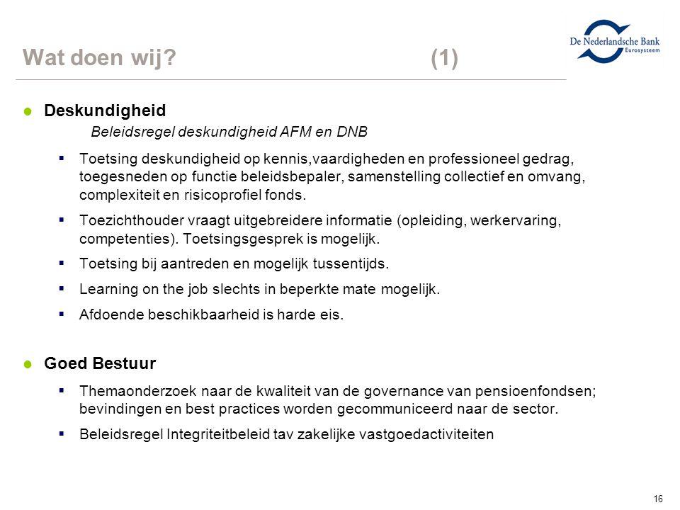 16 Wat doen wij? (1) l Deskundigheid Beleidsregel deskundigheid AFM en DNB  Toetsing deskundigheid op kennis,vaardigheden en professioneel gedrag, to