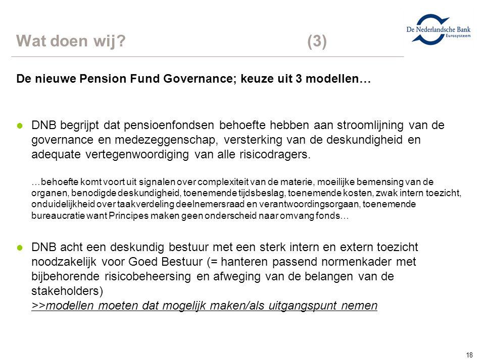 18 Wat doen wij?(3) De nieuwe Pension Fund Governance; keuze uit 3 modellen… l DNB begrijpt dat pensioenfondsen behoefte hebben aan stroomlijning van de governance en medezeggenschap, versterking van de deskundigheid en adequate vertegenwoordiging van alle risicodragers.