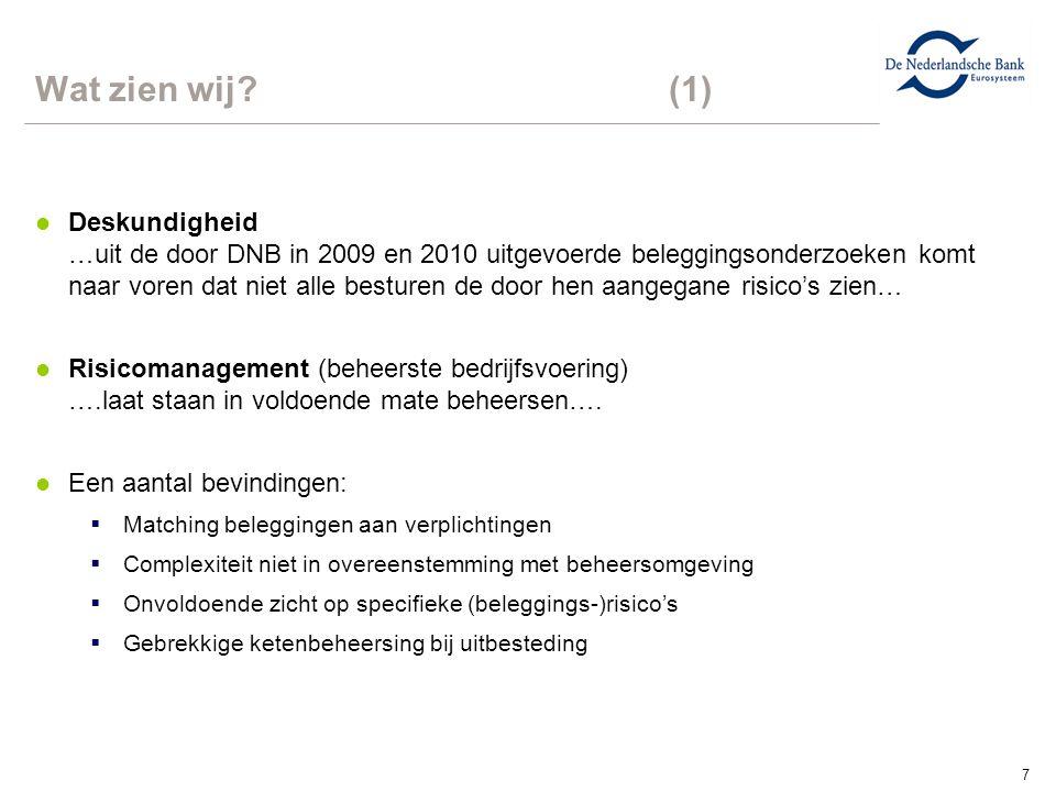 7 Wat zien wij?(1) l Deskundigheid …uit de door DNB in 2009 en 2010 uitgevoerde beleggingsonderzoeken komt naar voren dat niet alle besturen de door hen aangegane risico's zien… l Risicomanagement (beheerste bedrijfsvoering) ….laat staan in voldoende mate beheersen….
