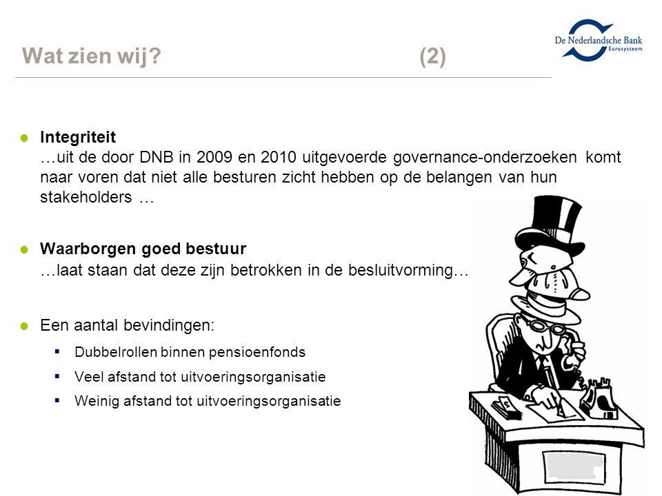 8 Wat zien wij?(2) l Integriteit …uit de door DNB in 2009 en 2010 uitgevoerde governance-onderzoeken komt naar voren dat niet alle besturen zicht hebb