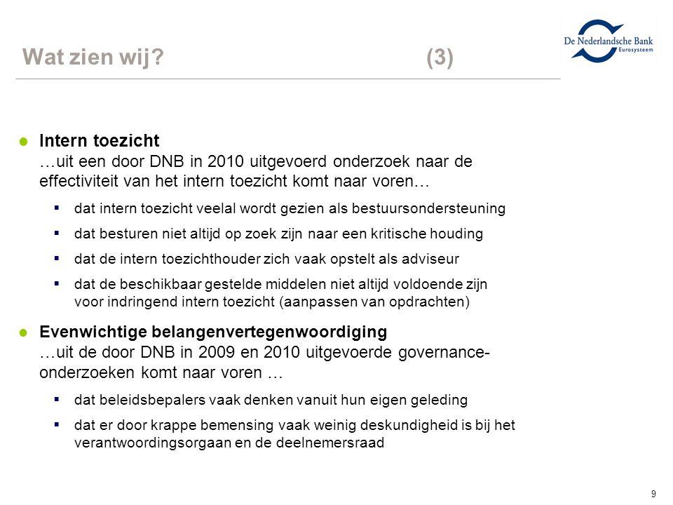 9 Wat zien wij?(3) l Intern toezicht …uit een door DNB in 2010 uitgevoerd onderzoek naar de effectiviteit van het intern toezicht komt naar voren…  d