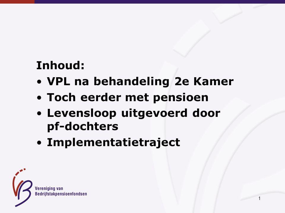 2 25-11-2004: Wetsvoorstel VPL aangenomen door 2e Kamer Groen Links en SP stemden tegen PvdA: geen verantwoordelijkheid voor invoeringstermijn 15-02-2005: Behandeling wetsvoorstel VPL in 1e Kamer > invoering per 1-1-2006?