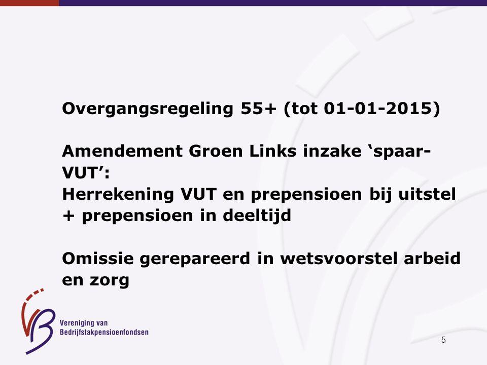 5 Overgangsregeling 55+ (tot 01-01-2015) Amendement Groen Links inzake 'spaar- VUT': Herrekening VUT en prepensioen bij uitstel + prepensioen in deelt