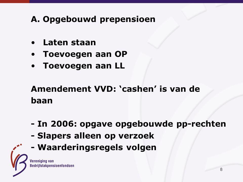 8 A. Opgebouwd prepensioen Laten staan Toevoegen aan OP Toevoegen aan LL Amendement VVD: 'cashen' is van de baan - In 2006: opgave opgebouwde pp-recht