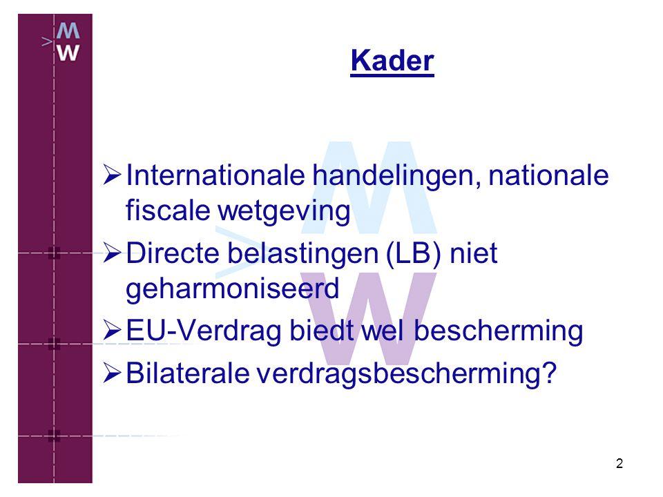 2 Kader  Internationale handelingen, nationale fiscale wetgeving  Directe belastingen (LB) niet geharmoniseerd  EU-Verdrag biedt wel bescherming 