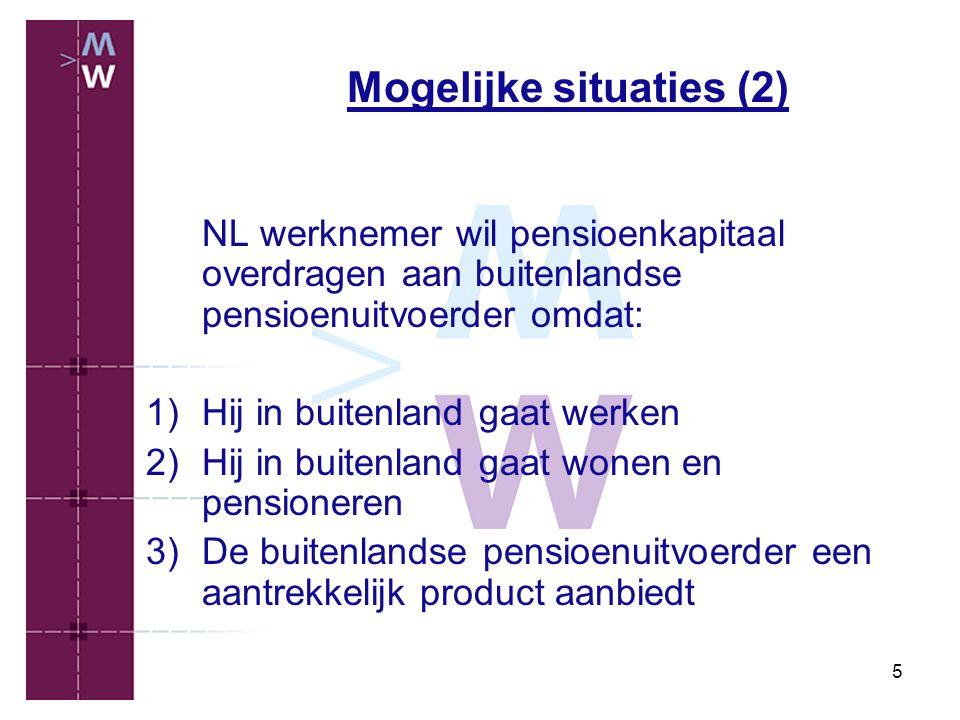 5 Mogelijke situaties (2) NL werknemer wil pensioenkapitaal overdragen aan buitenlandse pensioenuitvoerder omdat: 1)Hij in buitenland gaat werken 2)Hi