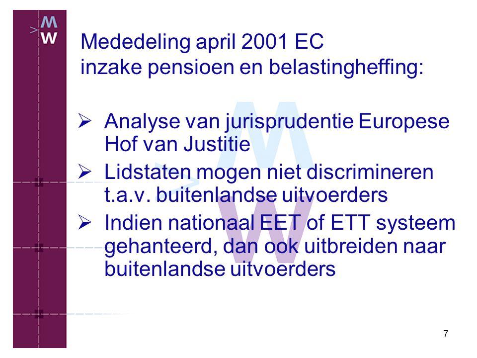 7 Mededeling april 2001 EC inzake pensioen en belastingheffing:  Analyse van jurisprudentie Europese Hof van Justitie  Lidstaten mogen niet discrimi