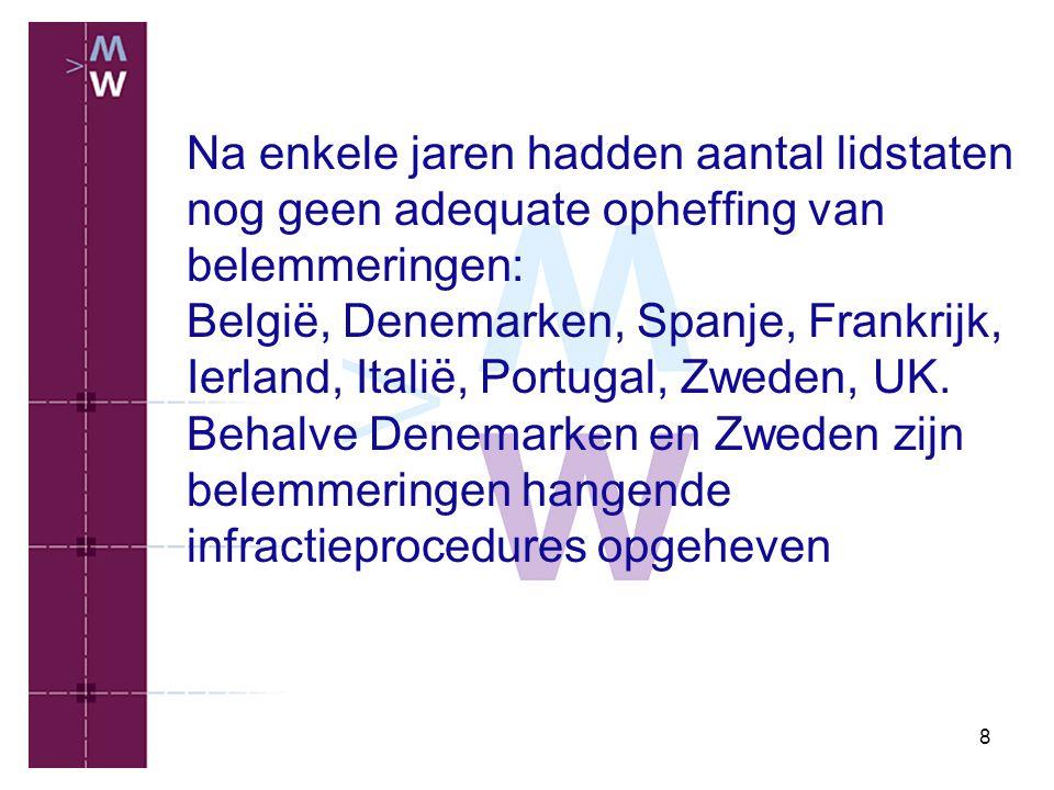 8 Na enkele jaren hadden aantal lidstaten nog geen adequate opheffing van belemmeringen: België, Denemarken, Spanje, Frankrijk, Ierland, Italië, Portu