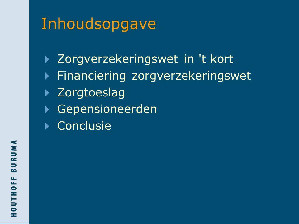 Zorgverzekeringswet in t kort  Invoering 1 januari 2006  Afschaffing ziekenfonds  Basisverzekering met acceptatieplicht  Aanvullende verzekeringen mogelijk  Zorgtoeslag  Financieringsmethode  inkomensafhankelijke bijdrage  nominale bijdrage
