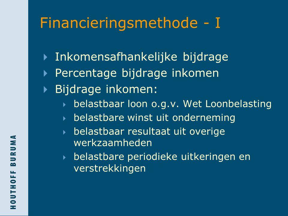 Financieringsmethode - II  Bijdrage inkomen minimaal nihil maximaal € 30.015  Verschillende percentages:  standaard: 6,5%  4,4% over:  belastbaar loon schepelingen  bijdrage inkomen dat niet vergoed wordt  0%  periodieke uitkeringen en verstrekken o.g.v.