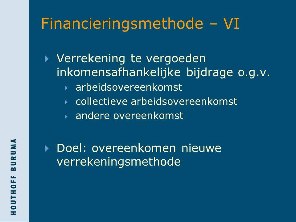 Financieringsmethode – VI  Verrekening te vergoeden inkomensafhankelijke bijdrage o.g.v.