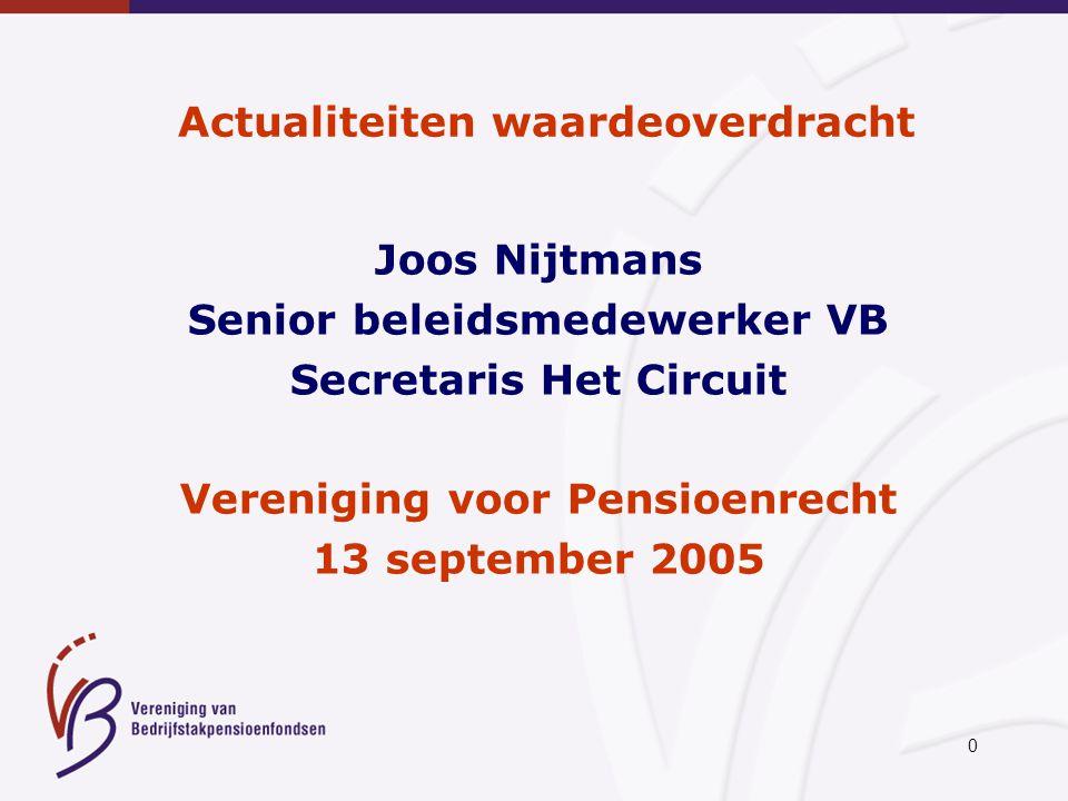 0 Actualiteiten waardeoverdracht Joos Nijtmans Senior beleidsmedewerker VB Secretaris Het Circuit Vereniging voor Pensioenrecht 13 september 2005