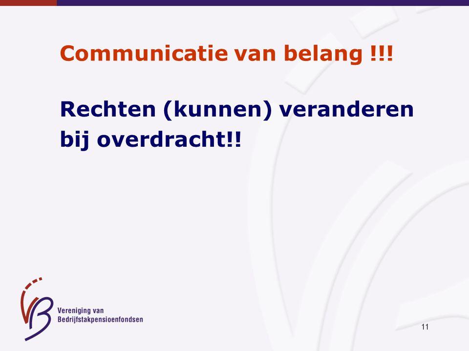 11 Communicatie van belang !!! Rechten (kunnen) veranderen bij overdracht!!