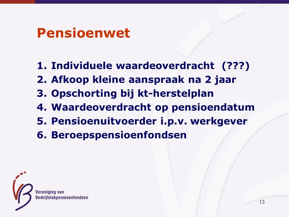 13 Pensioenwet 1.Individuele waardeoverdracht (???) 2.Afkoop kleine aanspraak na 2 jaar 3.Opschorting bij kt-herstelplan 4.Waardeoverdracht op pensioe
