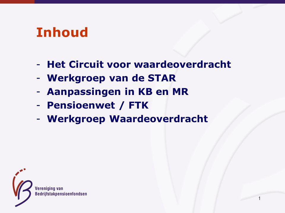 1 Inhoud -Het Circuit voor waardeoverdracht -Werkgroep van de STAR -Aanpassingen in KB en MR -Pensioenwet / FTK -Werkgroep Waardeoverdracht