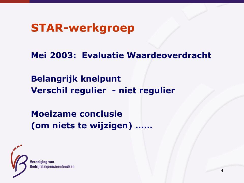 4 STAR-werkgroep Mei 2003: Evaluatie Waardeoverdracht Belangrijk knelpunt Verschil regulier - niet regulier Moeizame conclusie (om niets te wijzigen)